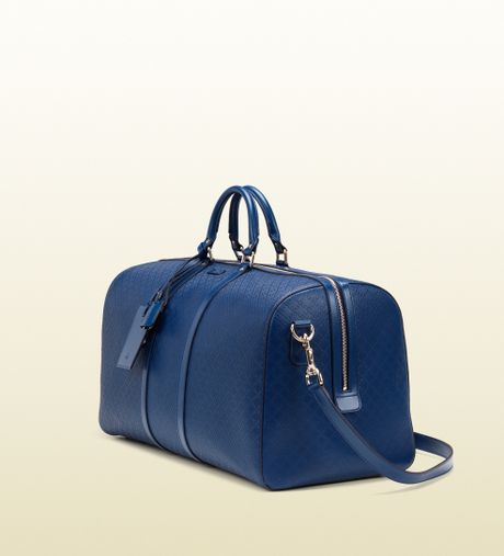 Gucci Bright Diamante Leather Carry-on Duffle Bag in Blue for Men