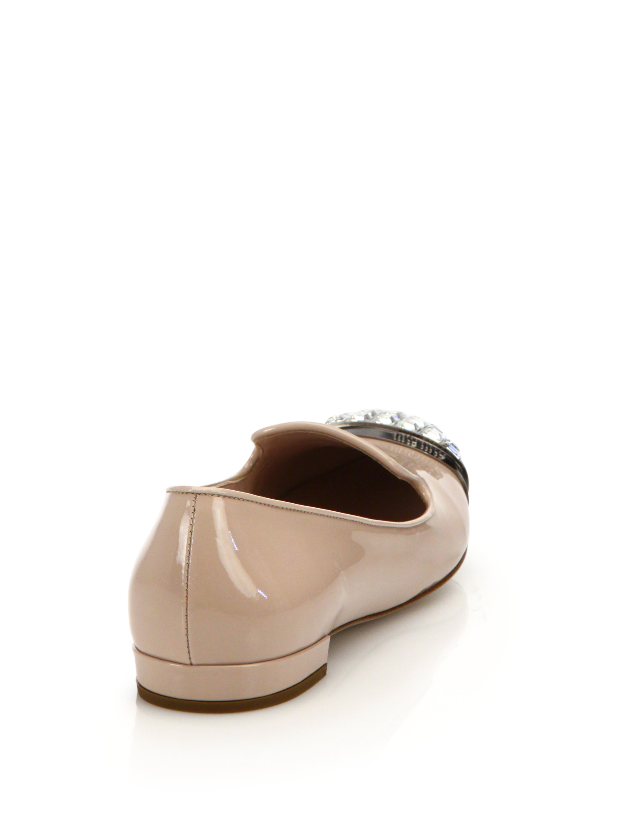 Miu Miu Crystal Patent Leather Loafers eO3uBtoamE