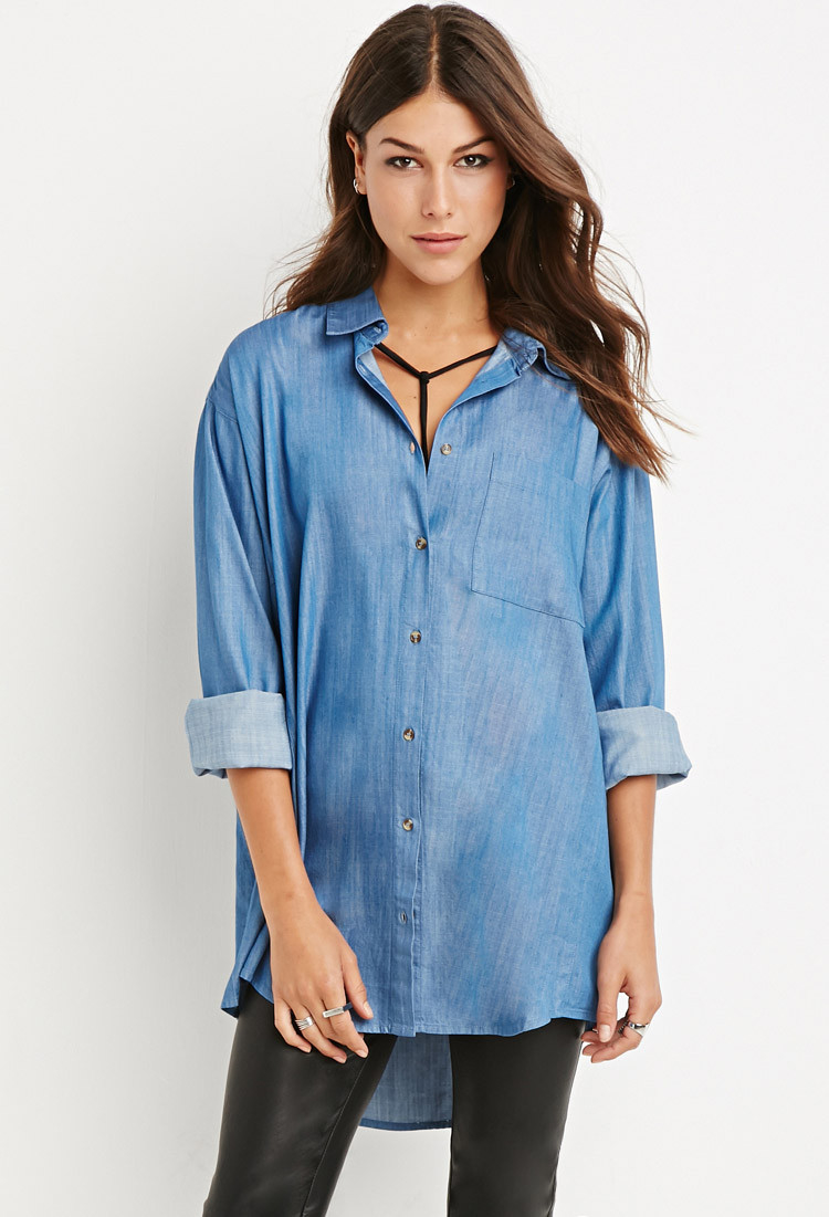 Lyst forever 21 oversized chambray shirt in blue for Chambray shirt women
