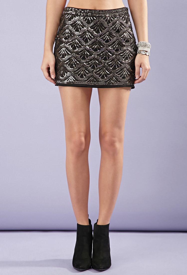 Forever 21 Scalloped Sequin Mini Skirt In Metallic