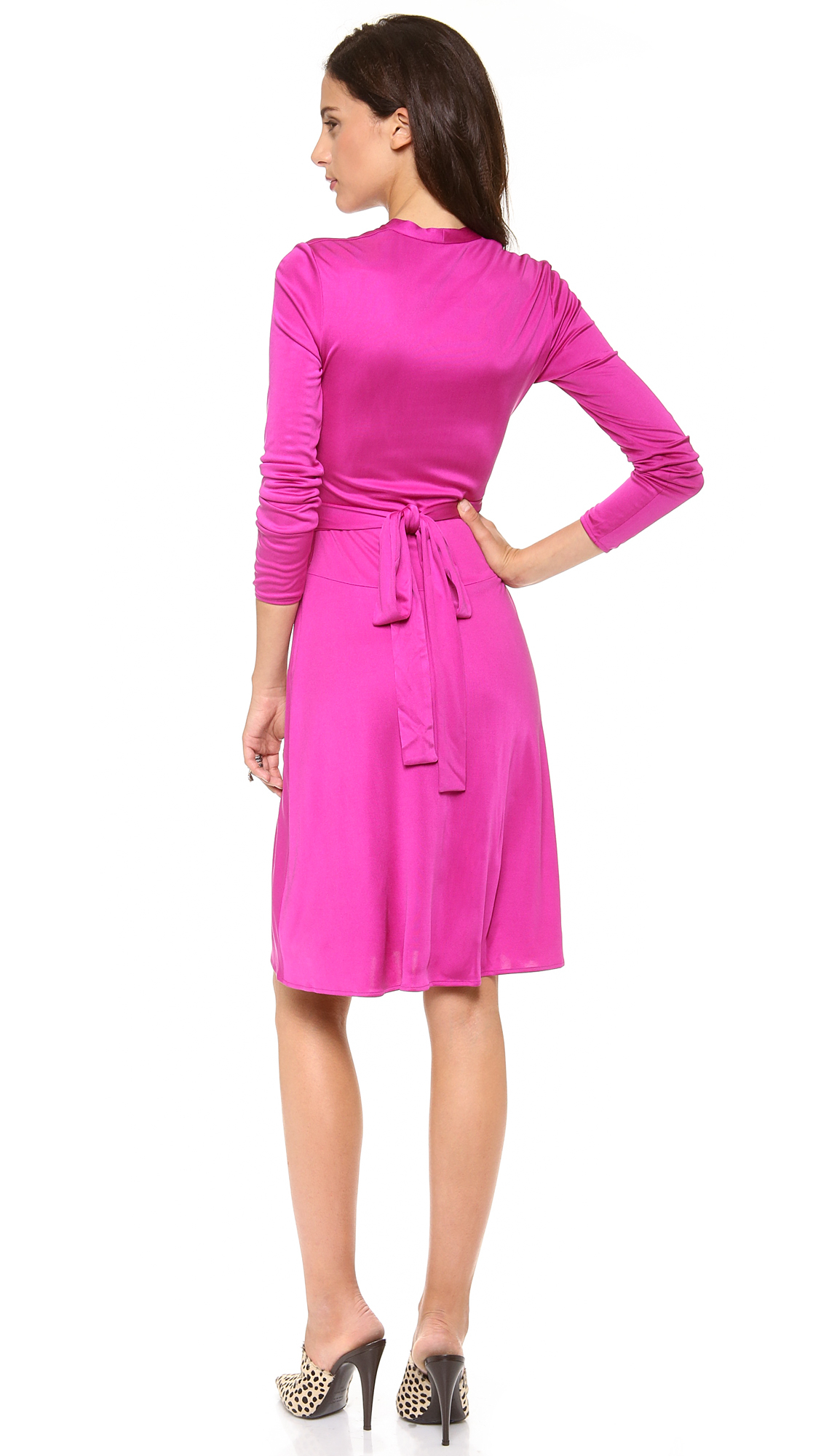 Issa Long Sleeve Wrap Dress - Verbena in Pink | Lyst