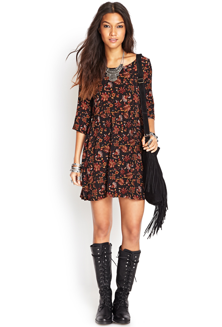 lyst forever 21 floral foliage babydoll dress in black
