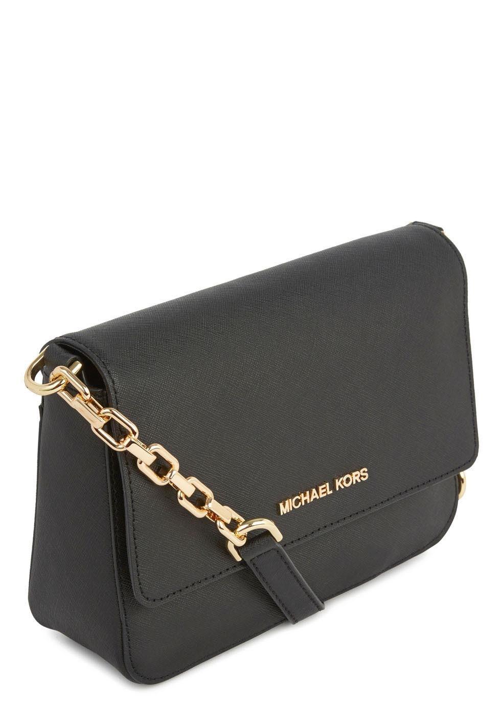michael kors selma black saffiano leather crossbody bag in