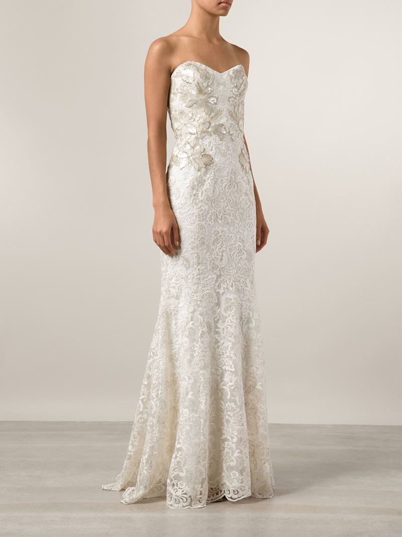Lyst - Notte By Marchesa Strapless Lace Bridal Gown in White