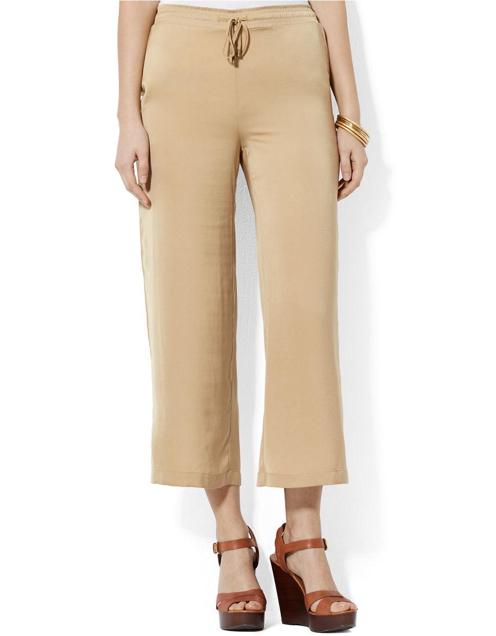 Popular Calvin Klein Belted Wideleg Pants In Khaki  Lyst
