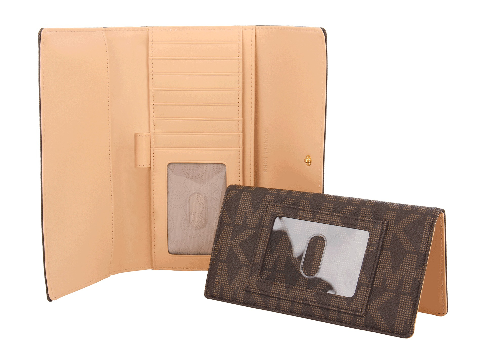 e6325ca23a9109 ... reduced lyst michael michael kors jet set checkbook wallet in brown  540b8 5b934 ...