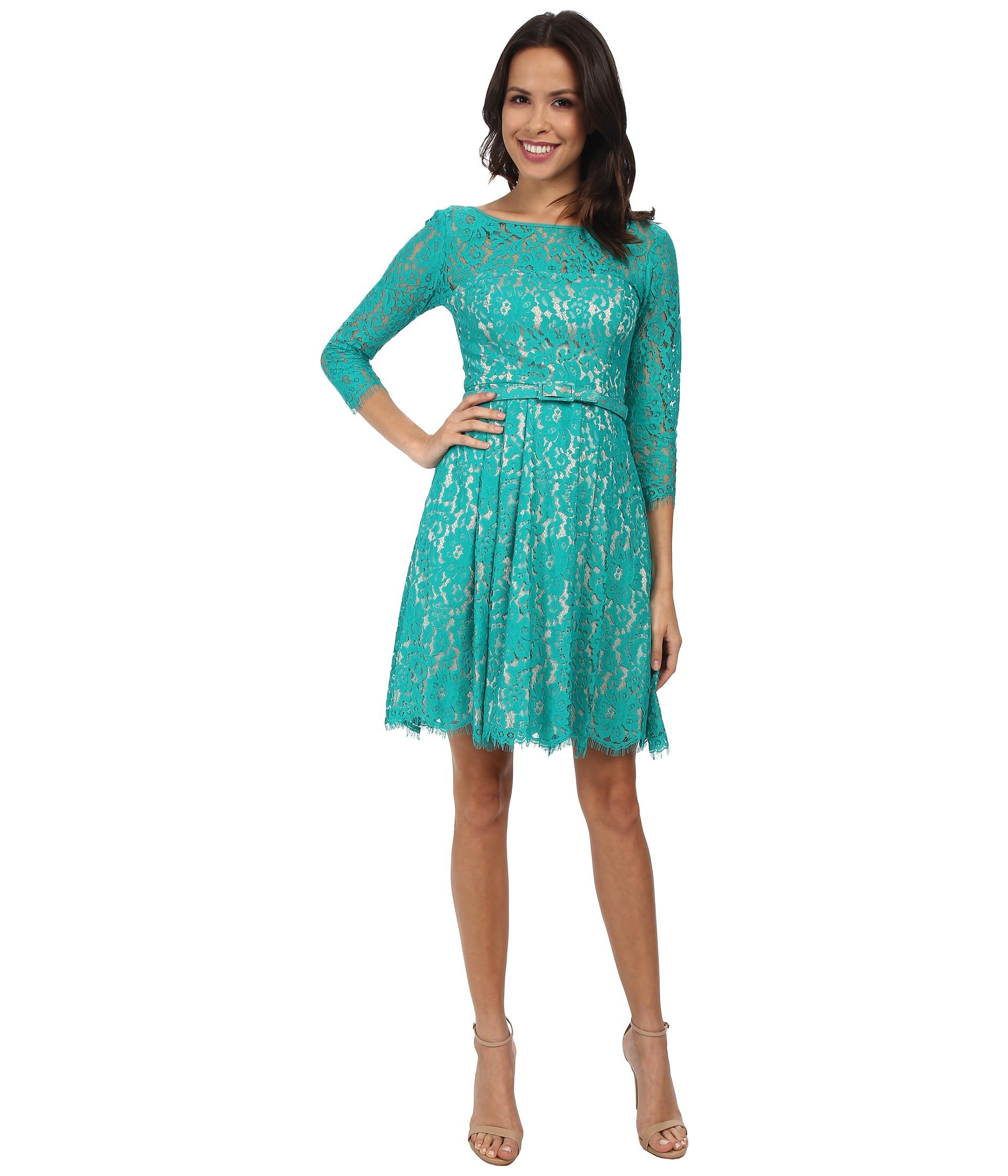 0581ec709b Eliza J Long Sleeve Lace Fit & Flare Dress W/ Pleated Skirt in Green - Lyst
