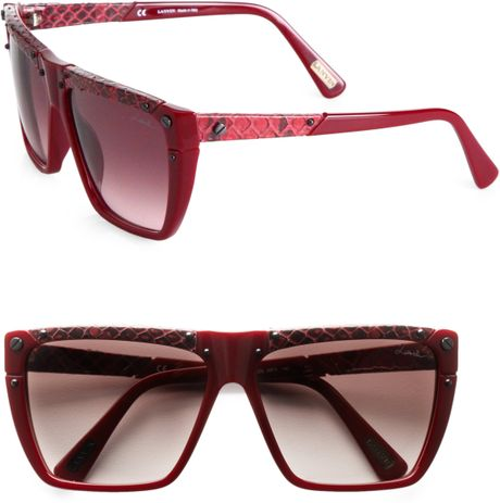 Lanvin Snakeprint Leather Accented Modified Square Sunglasses in Brown (bordeaux)