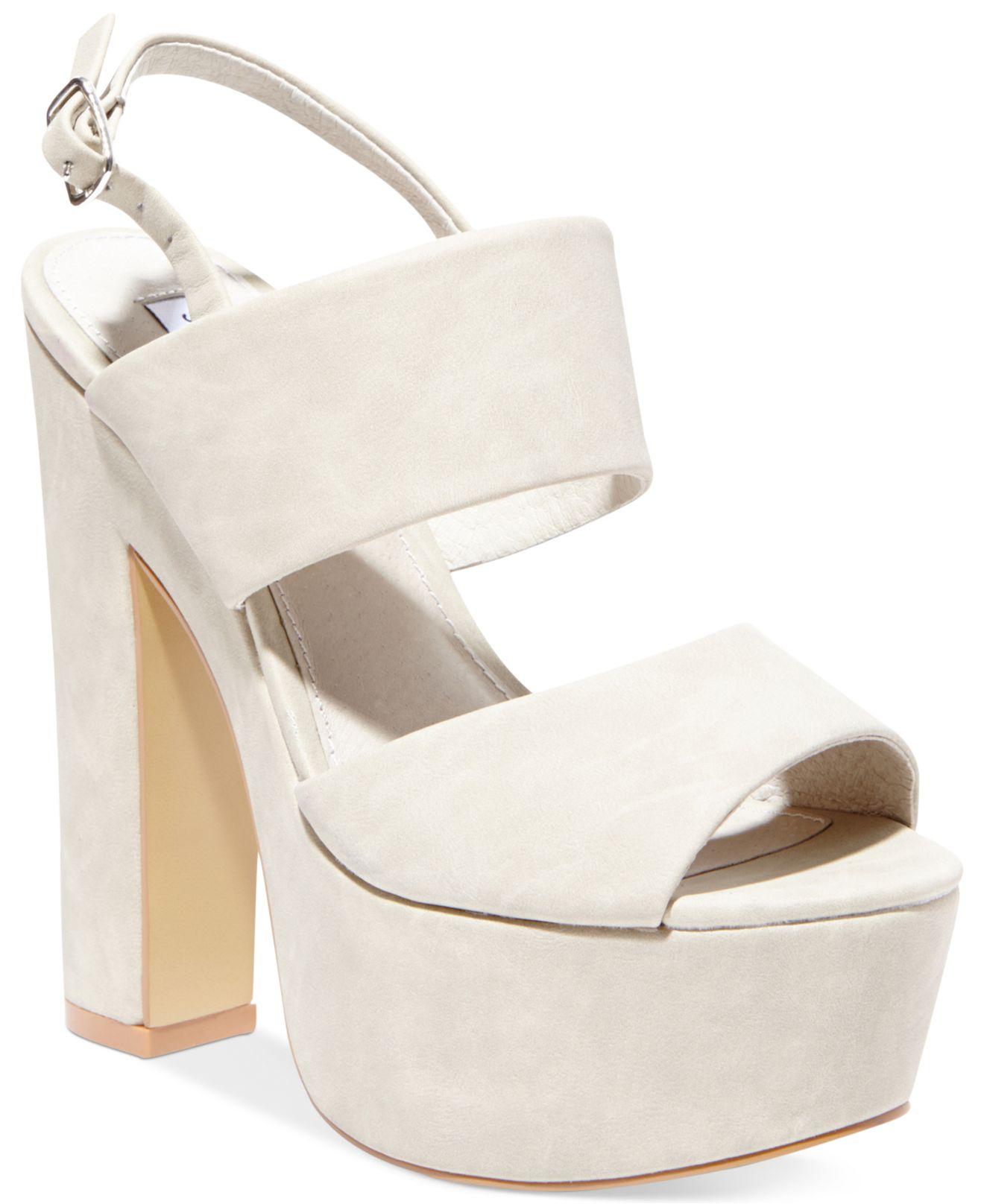 e7ac5143c2b Lyst - Steve Madden Women s Wellthy Slingback Platform Sandals in White