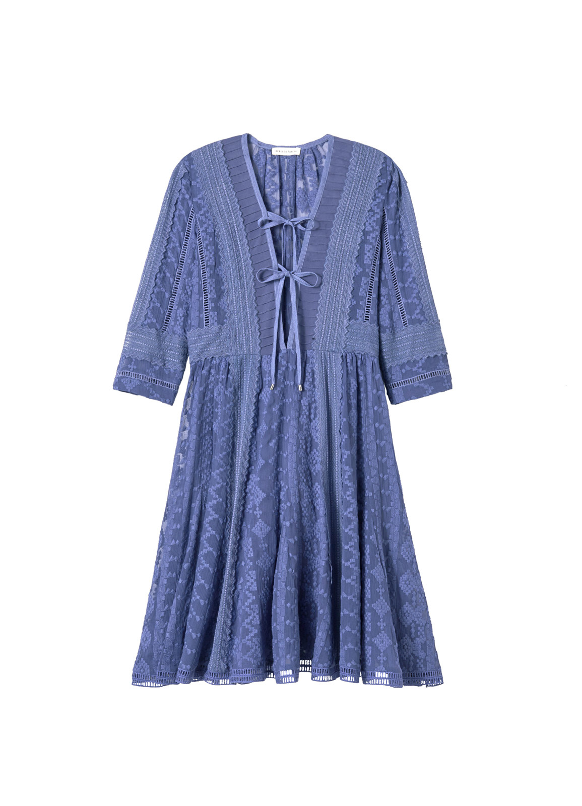Rebecca taylor embroidered chiffon dress in blue lyst