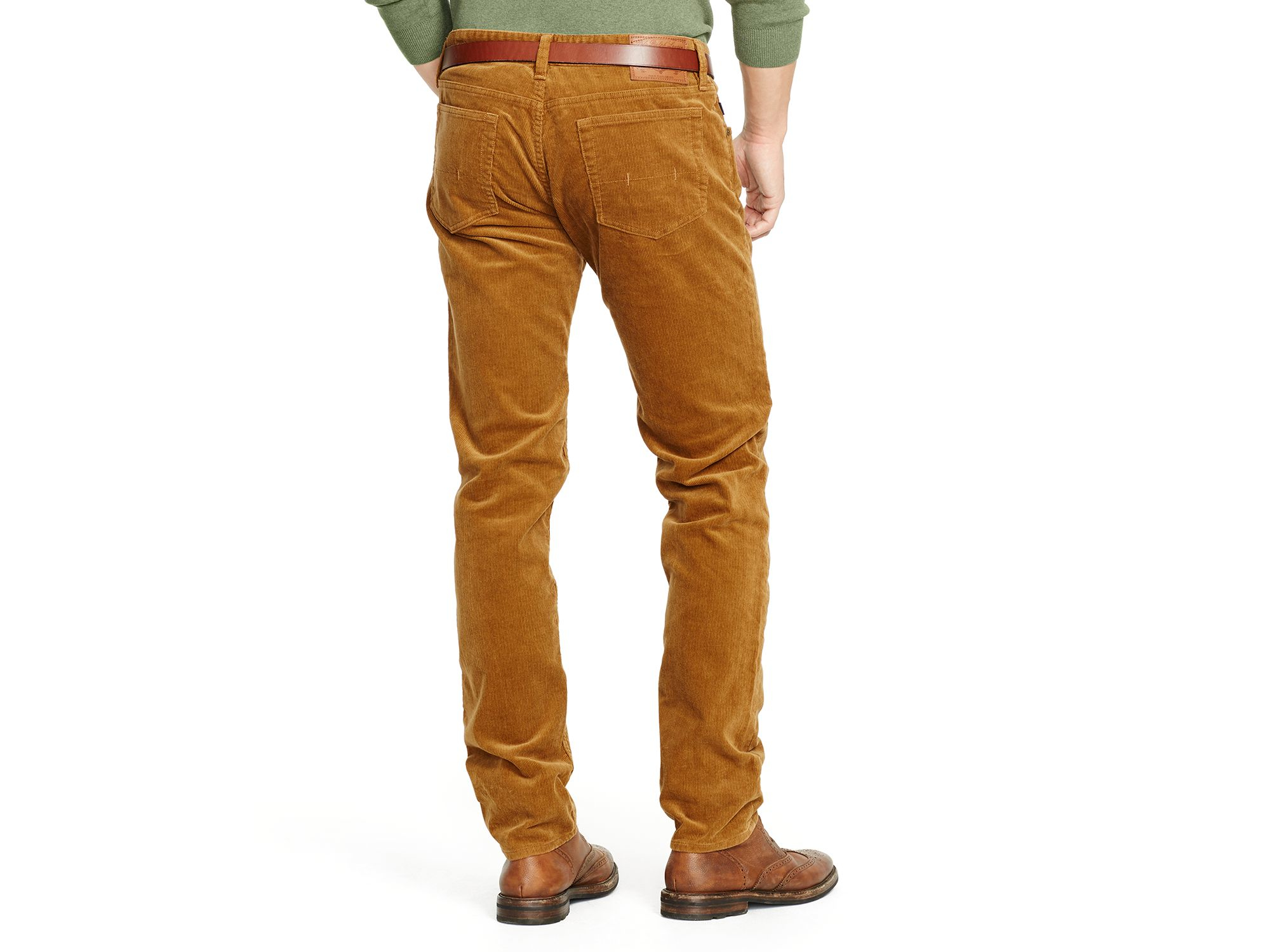 Ralph lauren Polo Varick Slim Straight Corduroy Pants in Brown for ...