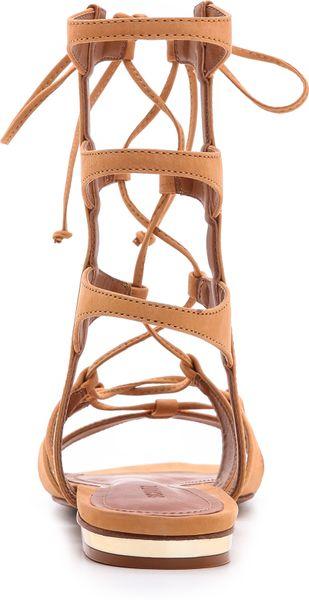 Schutz Erlina Flat Lace Up Sandals In Orange Dawn Lyst