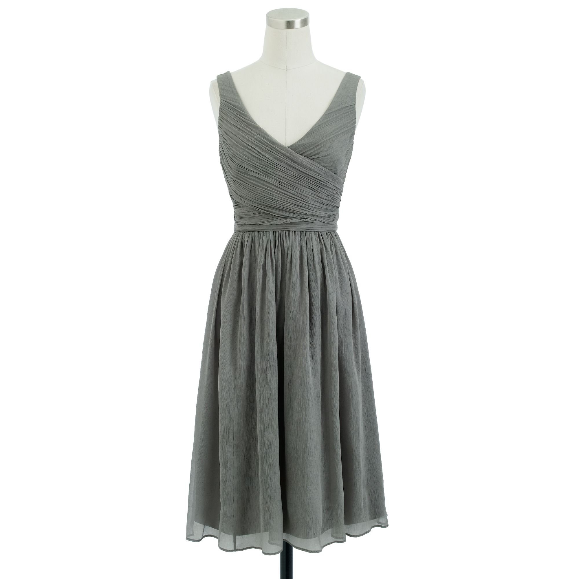 Heidi dress in silk chiffon in gray graphite lyst for Silk chiffon wedding dress
