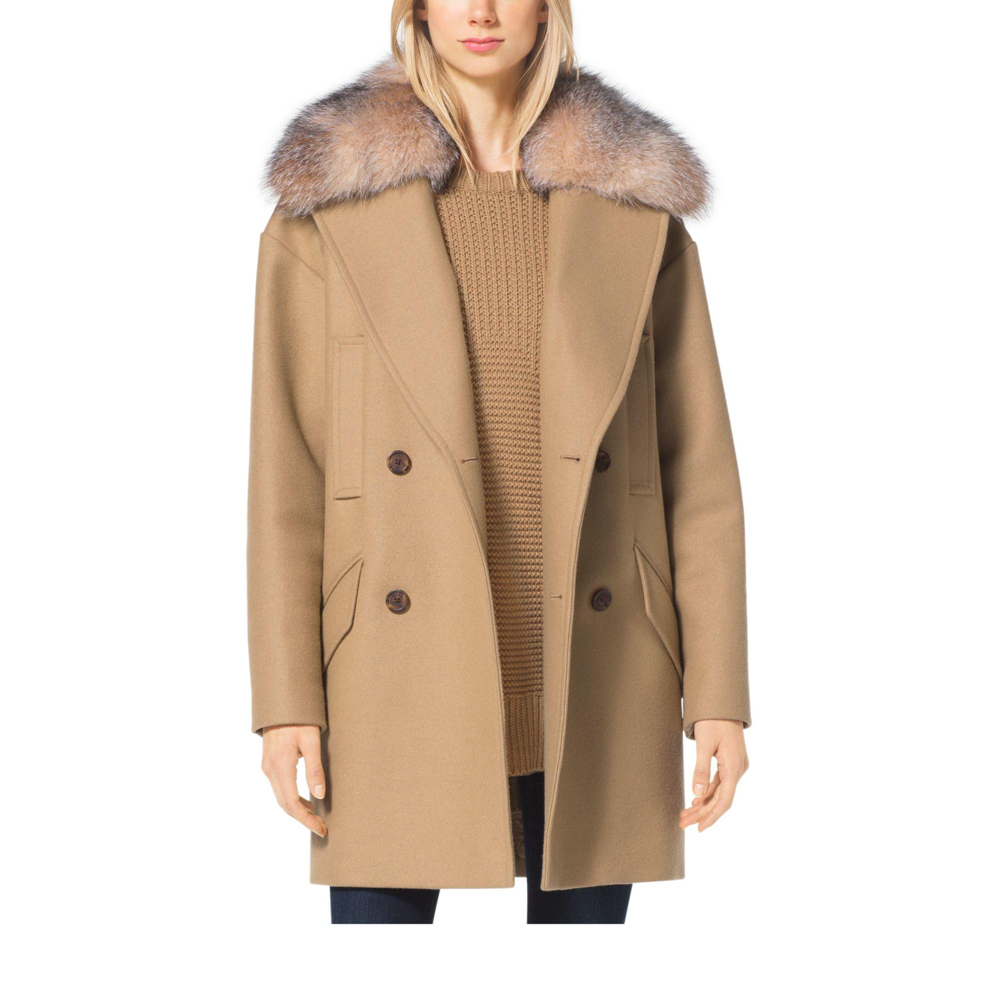 Michael kors Fur-trimmed Wool-melton Coat in Brown | Lyst