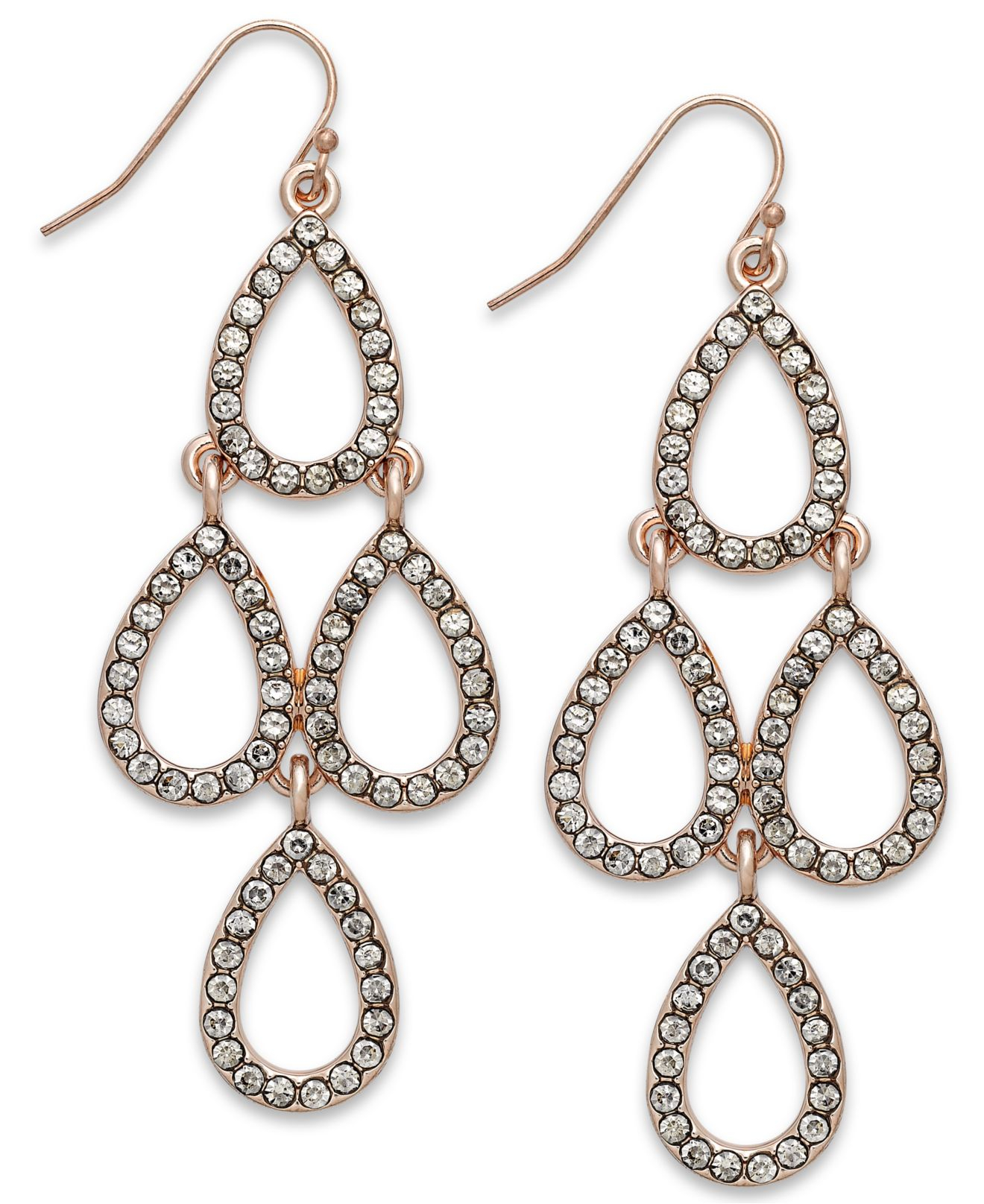 Inc international concepts Rose GoldTone Crystal Teardrop – Gold Tone Chandelier Earrings