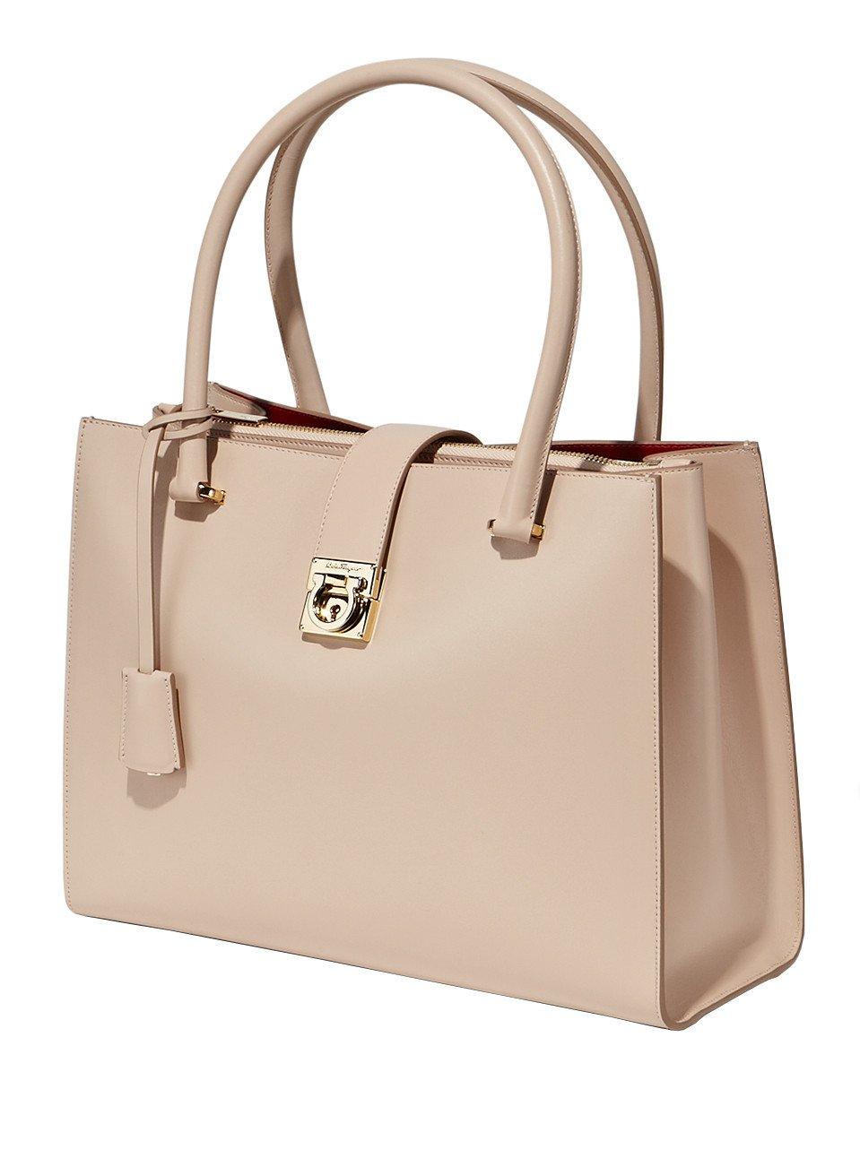 ferragamo marlene medium size leather tote bag in beige new bisque lyst. Black Bedroom Furniture Sets. Home Design Ideas