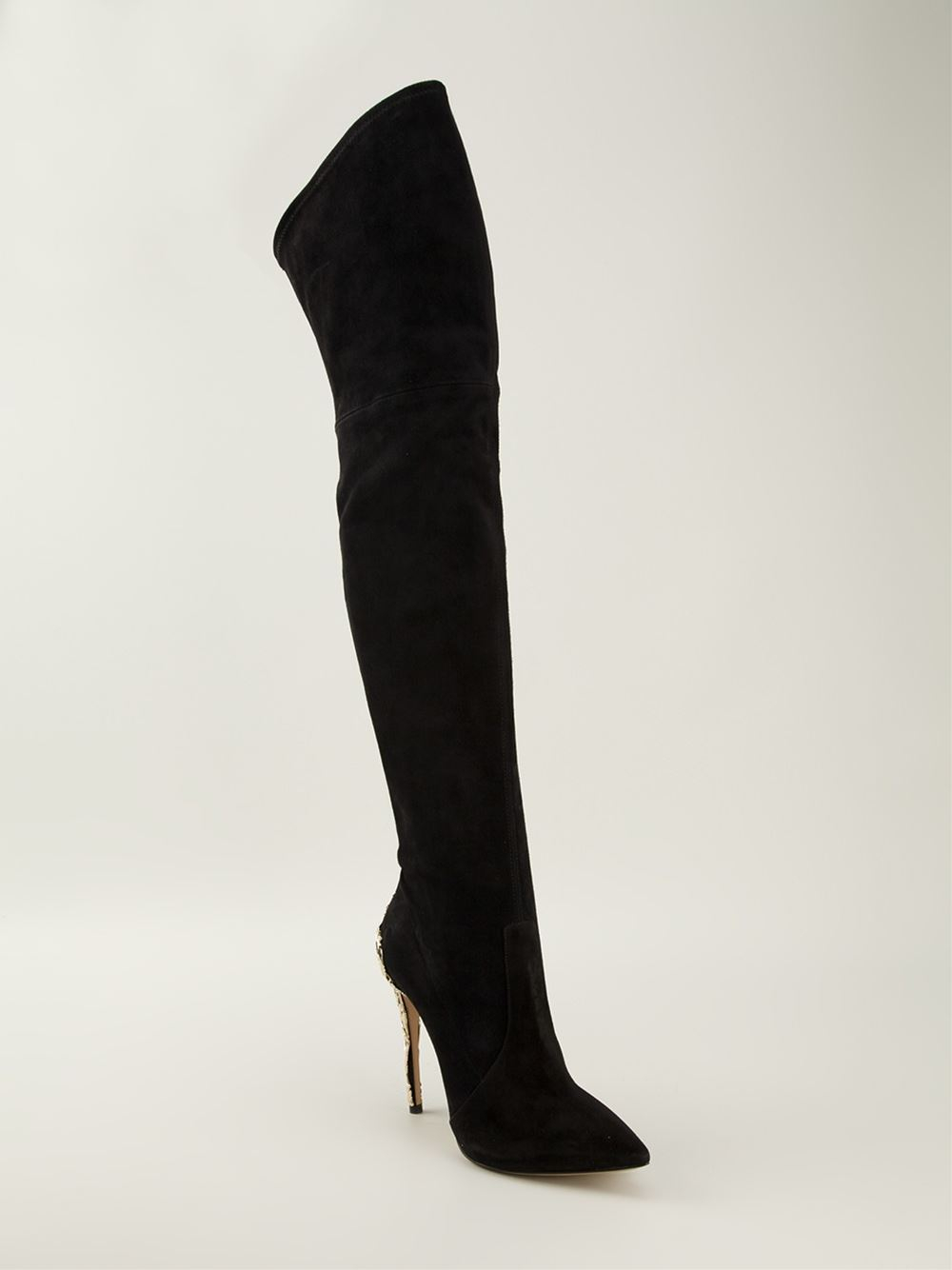 Casadei Venice Thigh Length Boots In Black Lyst