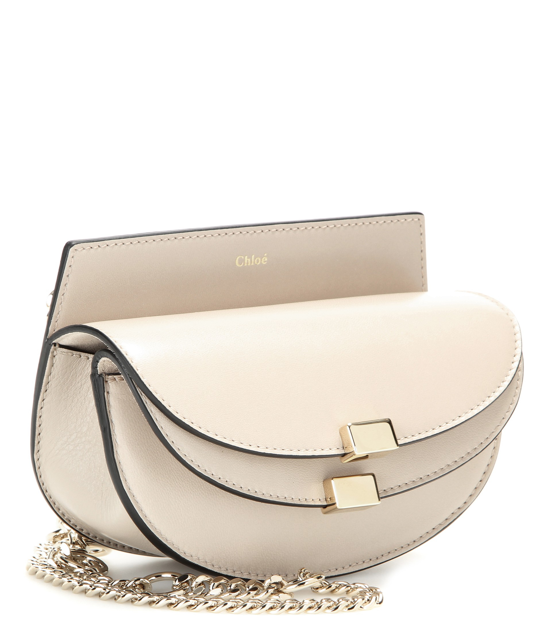 Chlo¨¦ Georgia Nano Leather Shoulder Bag in Beige | Lyst
