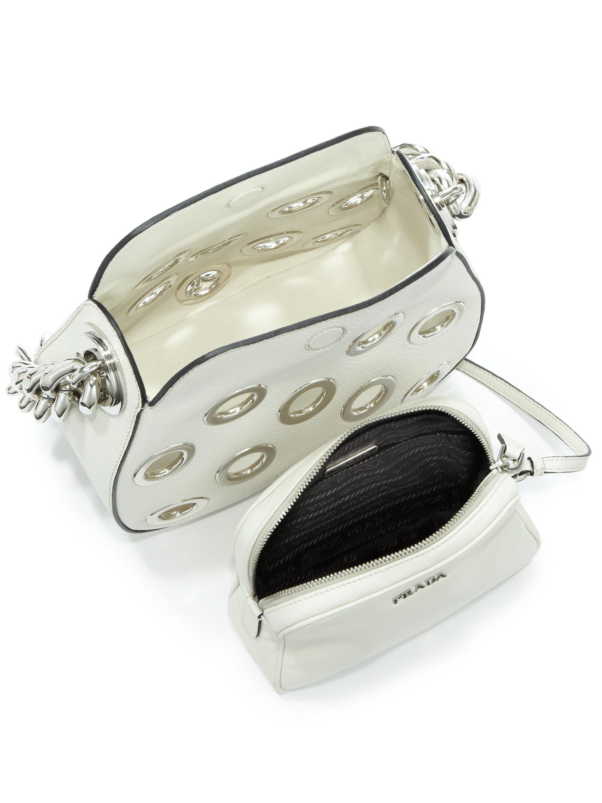 prada handbags black leather - Prada Daino Chain Hobo Bag With Grommets in White (ivory) | Lyst