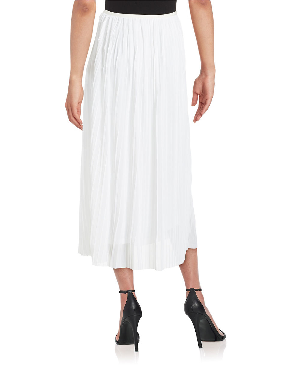 kensie pleated chiffon maxi skirt in white lyst