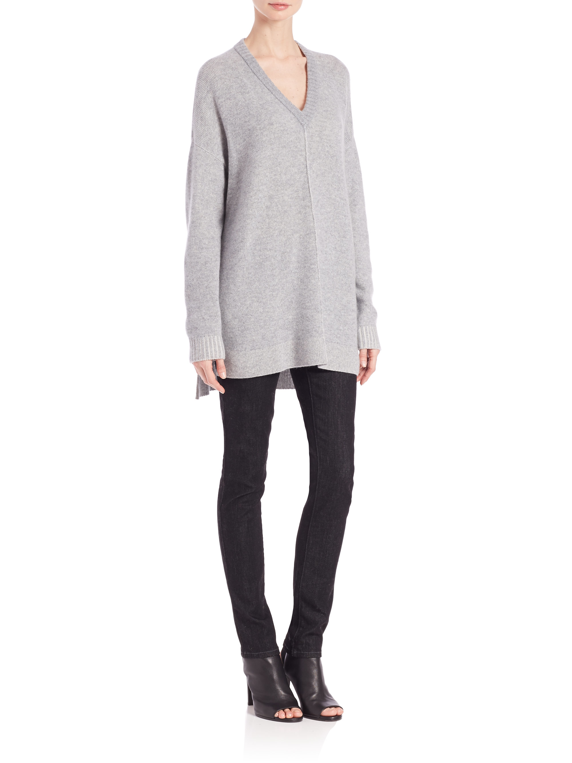 33bd1ce5fa2 Eileen Fisher Plaited Cashmere Tunic in Gray - Lyst