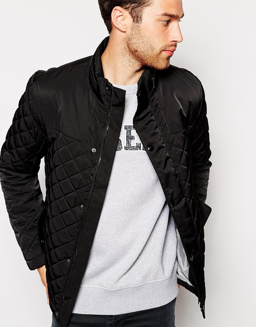 Lyst Esprit Quilted Jacket In Black For Men