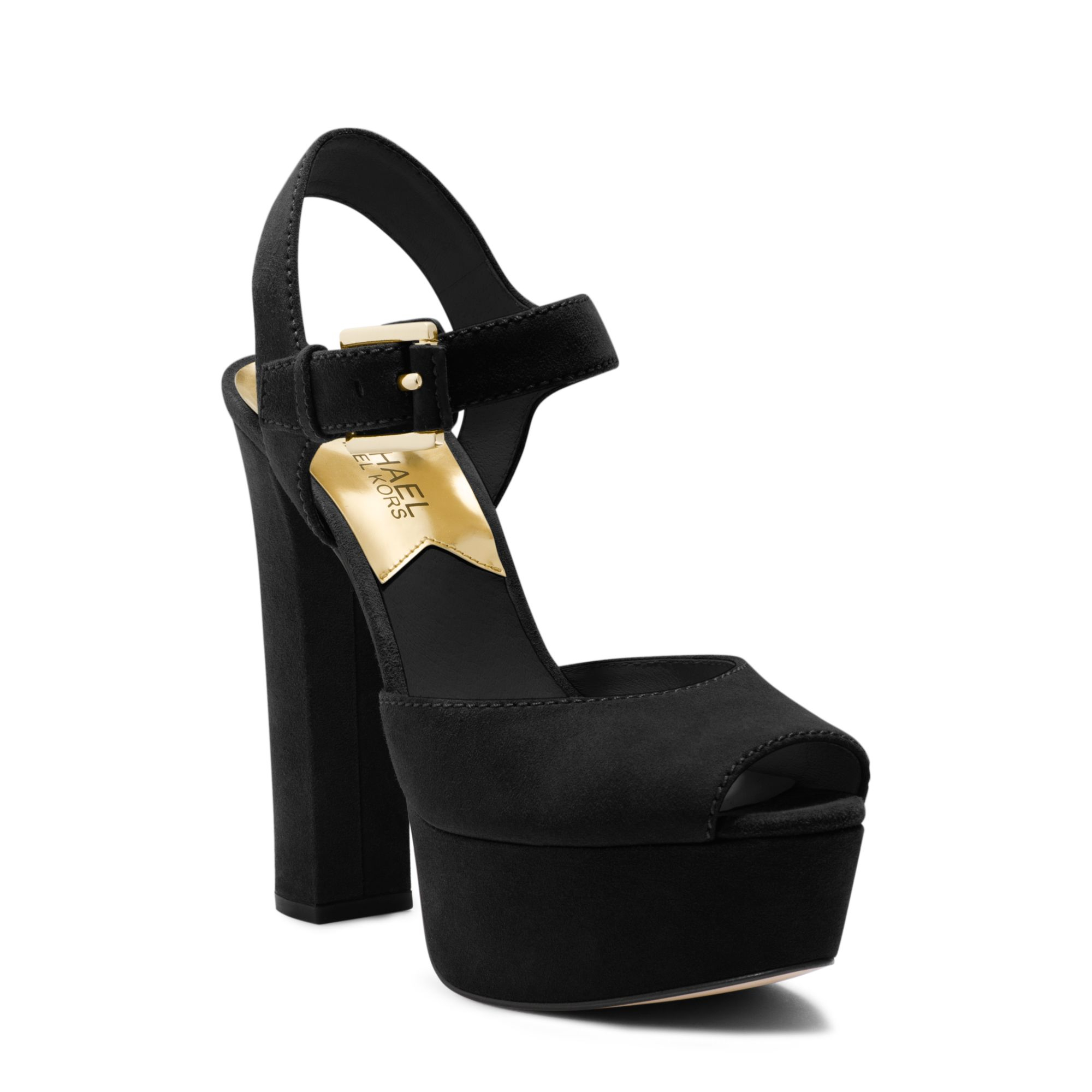 1ae35296932 Lyst - Michael Kors London Suede Platform Peep-toe Sandal in Black