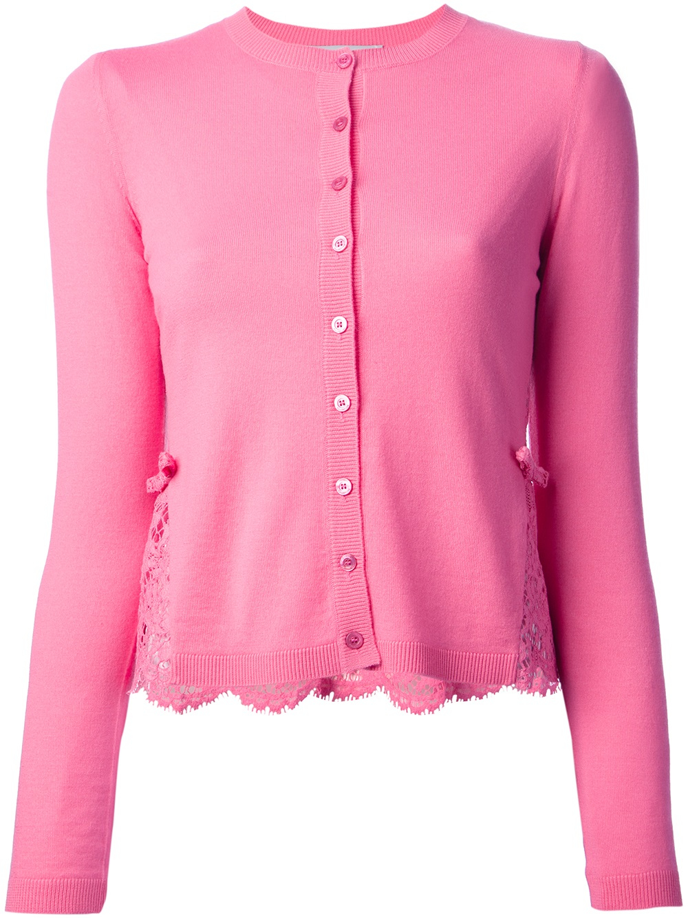 Valentino Lace Panel Cardigan in Pink | Lyst