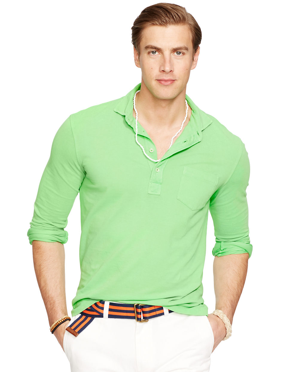 Polo ralph lauren neon featherweight mesh estate shirt in for Neon green shirts for men