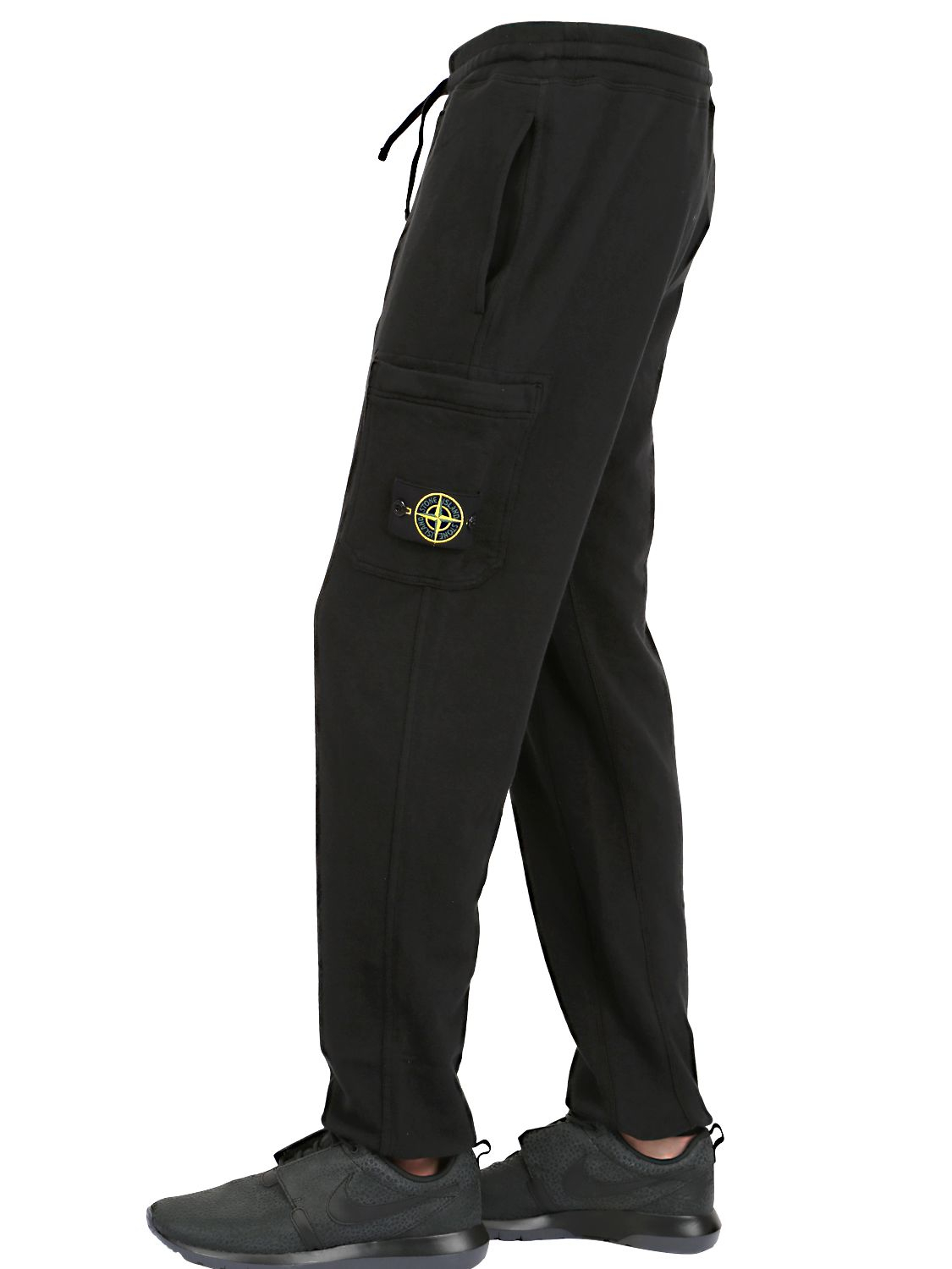 Stone island Garment Dyed Cotton Jogging Pants in Black ...