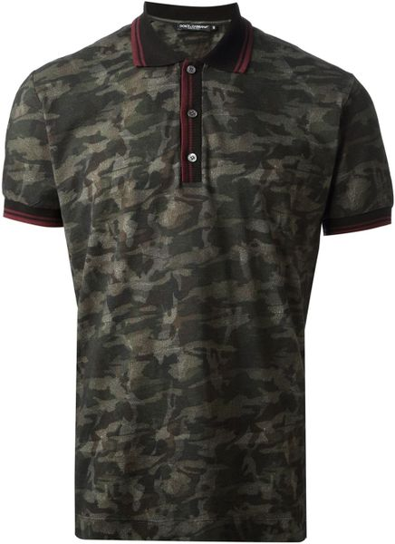 Dolce gabbana camouflage polo shirt in green for men lyst for Camo polo shirts for men