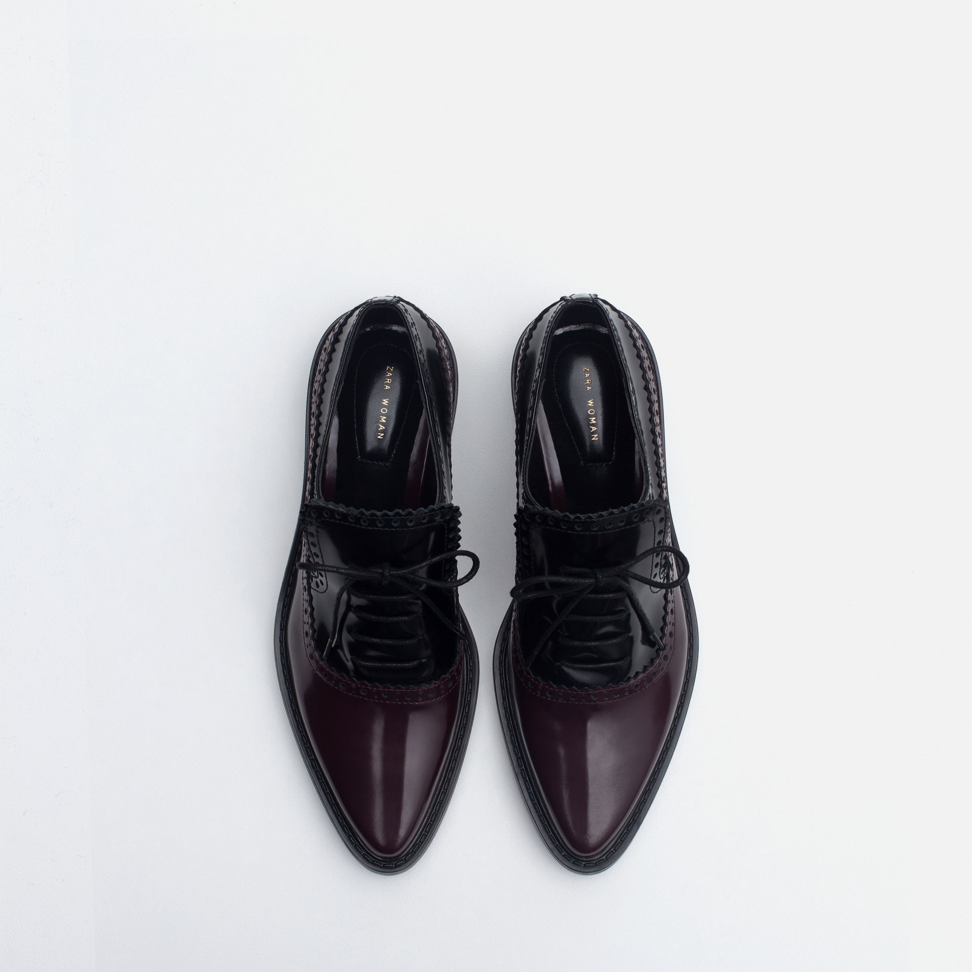 New Zara Glossy Flat Shoes In Black  Lyst