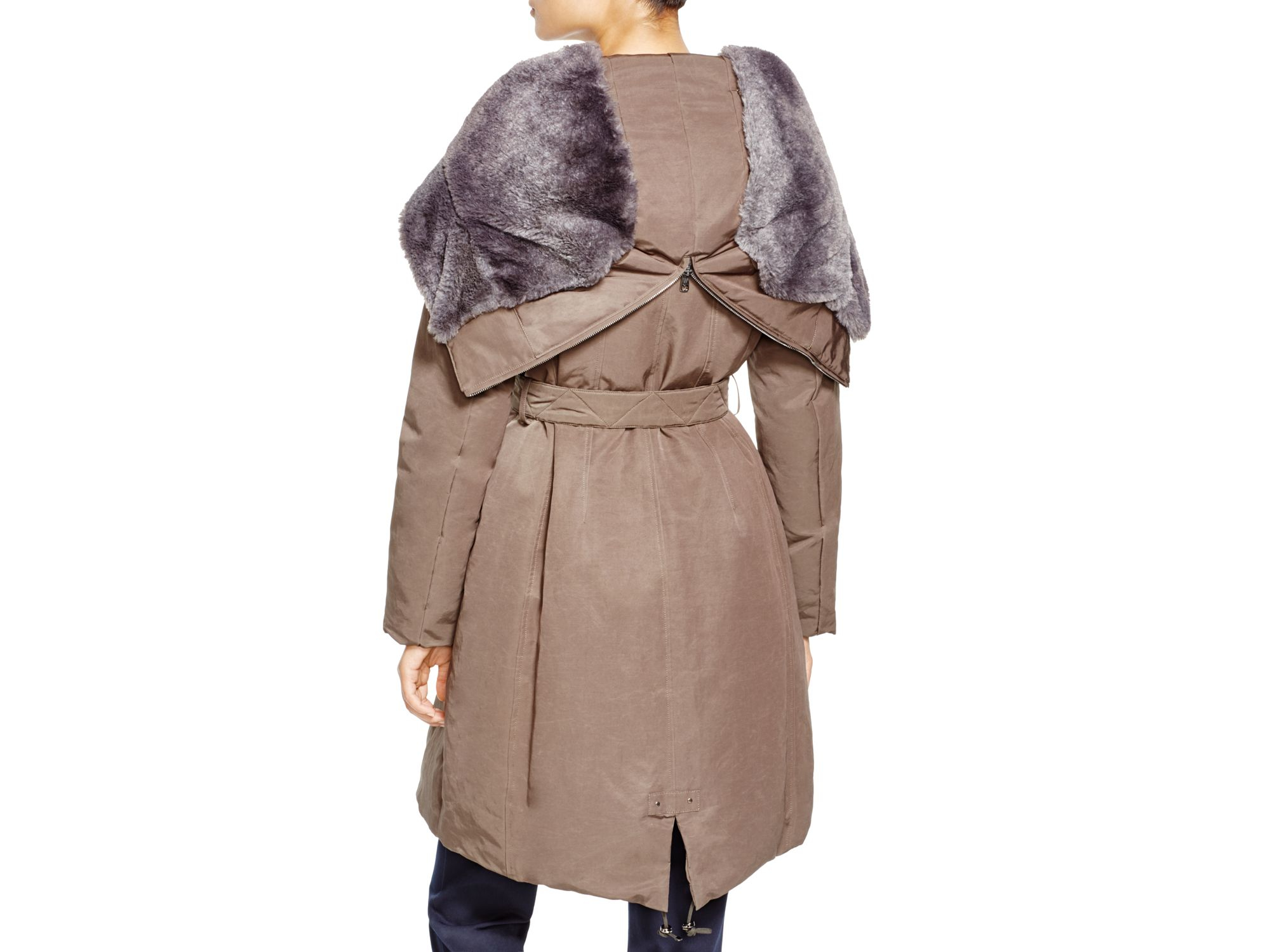 3a4ca9d163cbc Lyst - Weekend by Maxmara Augusta Faux Fur Hood Parka in Brown