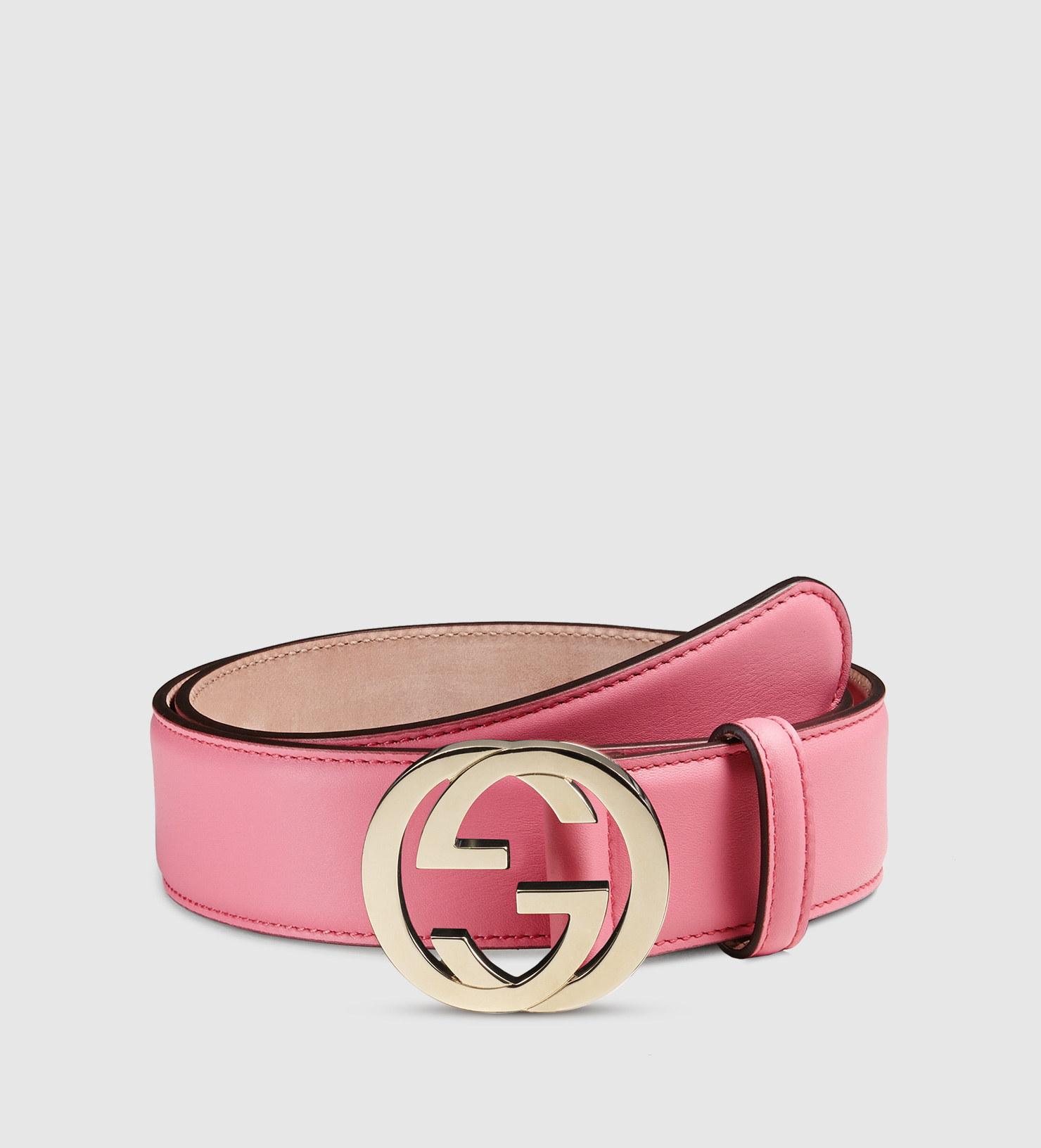 Gucci Leather Belt With Interlocking G Buckle in Pink