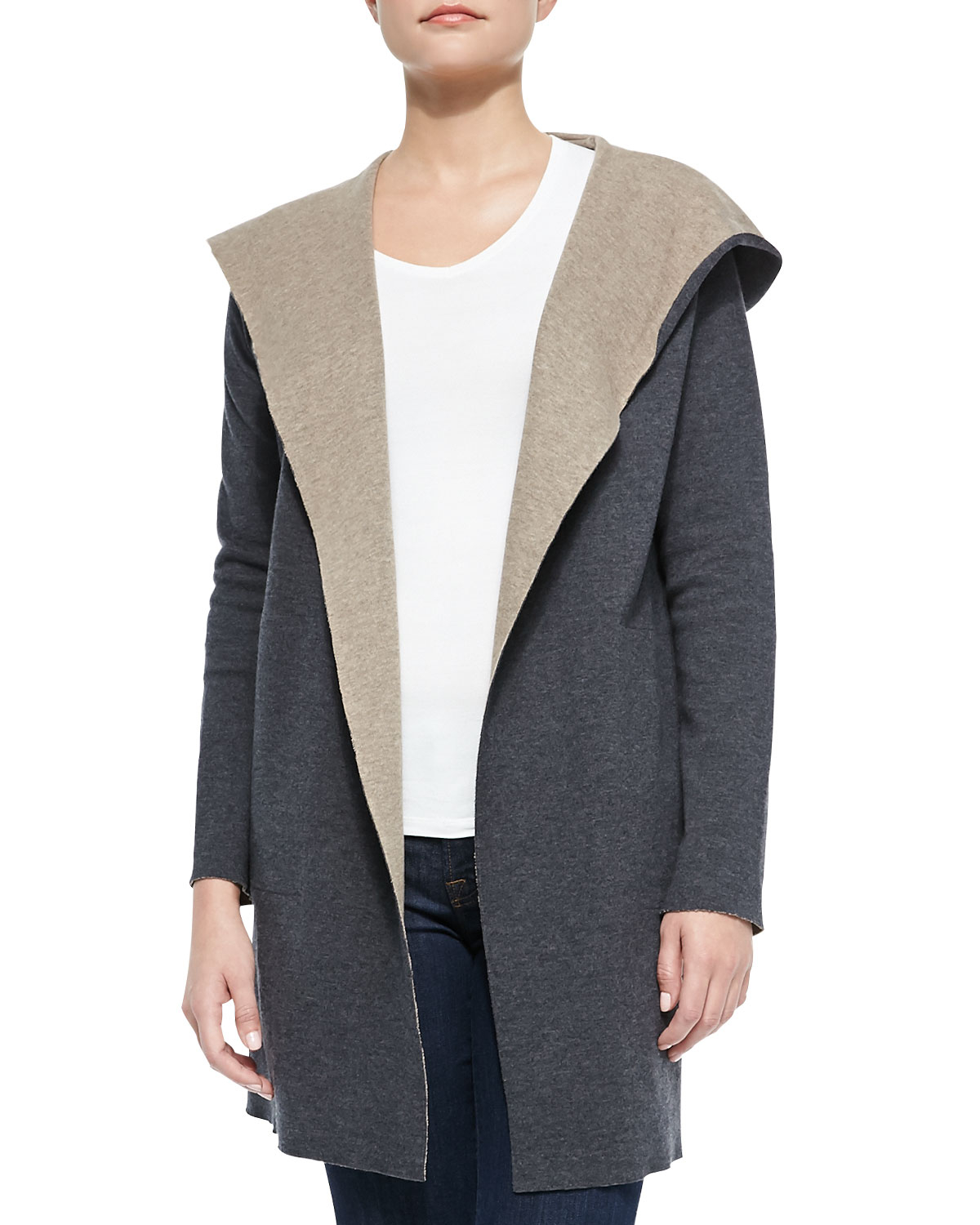 Neiman marcus Double-Face Merino Hooded Cardigan in Blue | Lyst