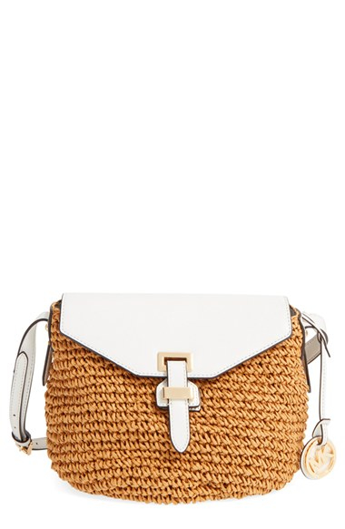 efdb4aa4d700 MICHAEL Michael Kors Medium Naomi Straw And Leather Messenger Bag in ...
