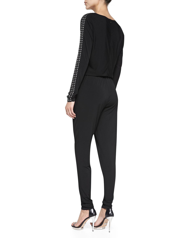 ab58446e336 Lyst - MICHAEL Michael Kors Long Sleeve Studded Jumpsuit in Black