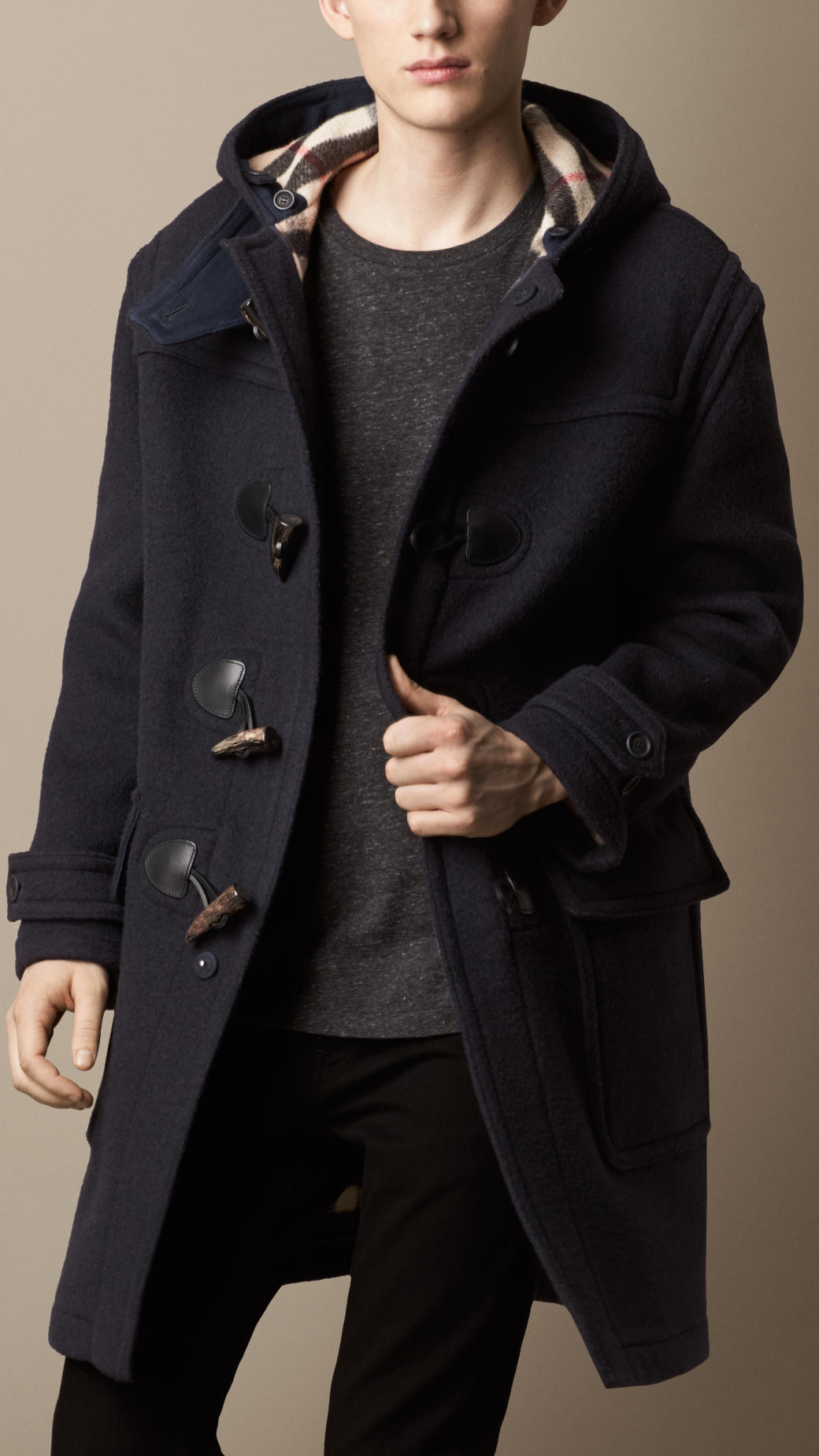 Burberry Oversize Wool Duffle Coat in Blue for Men | Lyst