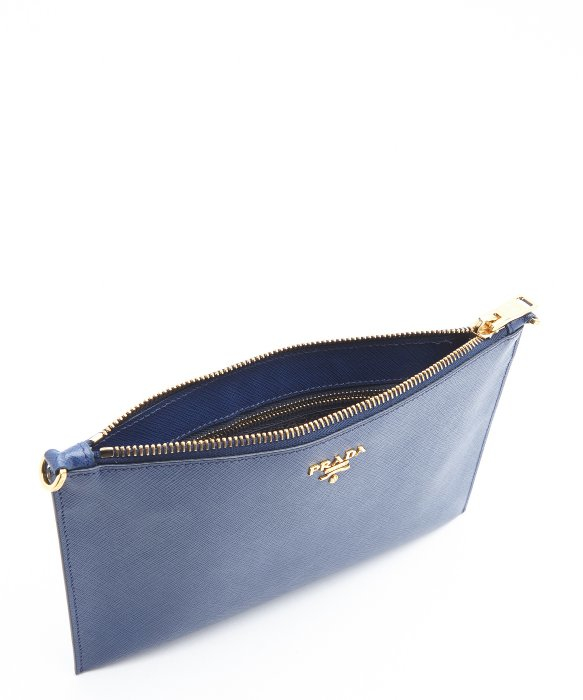 prada nylon shoulder bag black - Prada Blue Leather Zip Top Convertible Clutch in Blue | Lyst