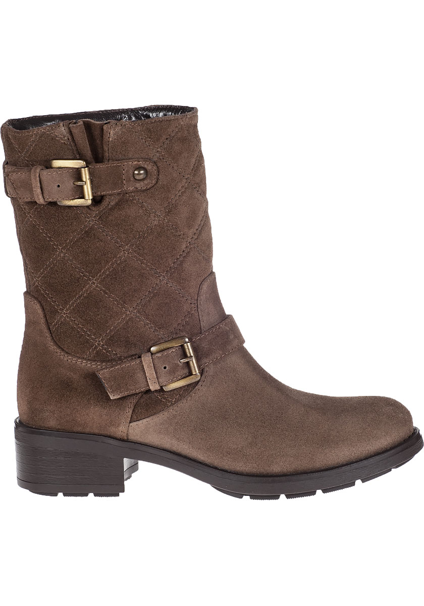 aquatalia sherry biker boot mud suede in brown lyst