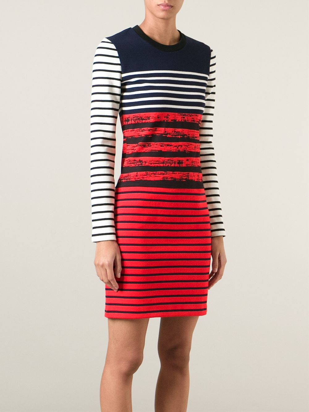 Petit bateau x cedric charlier mixed stripe dress in red for Petit bateau striped shirt