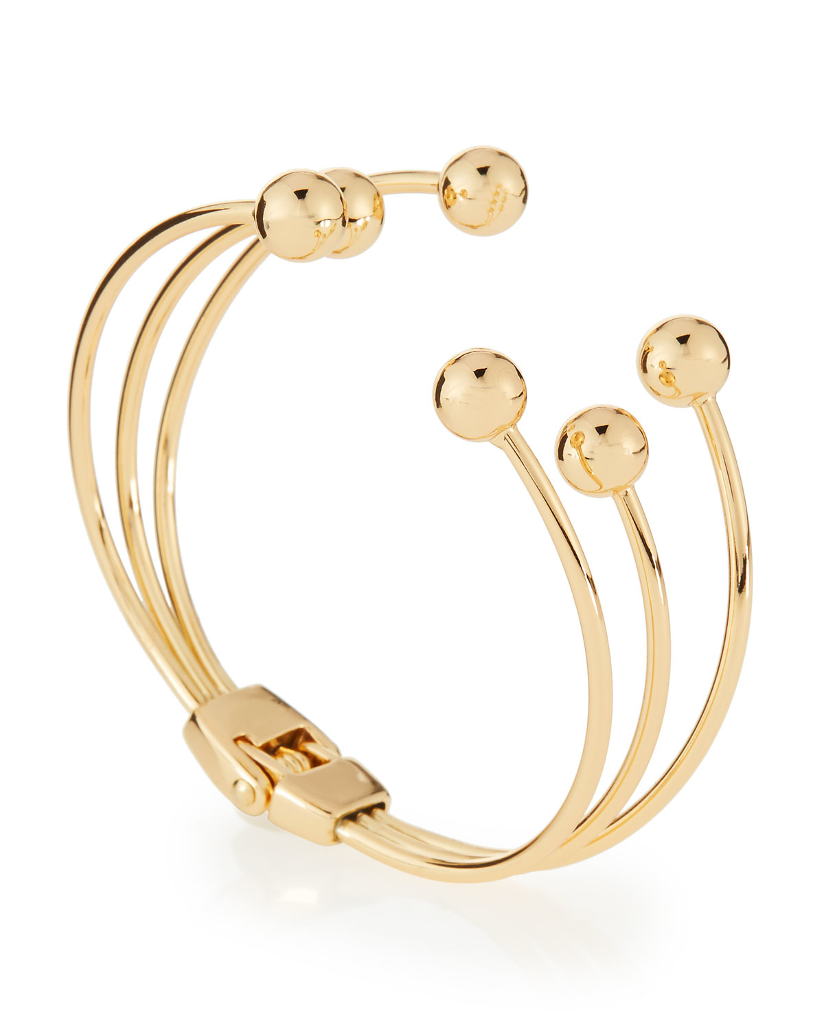 Lyst Lydell Nyc Golden Triple Row Hinged Ball Cuff