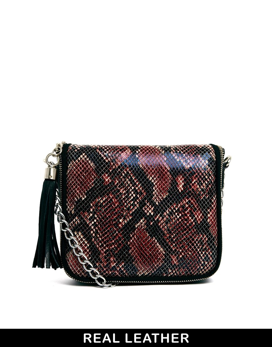572b98c732 Urbancode Leather Mini Red Snake Chain Crossbody Bag in Red - Lyst