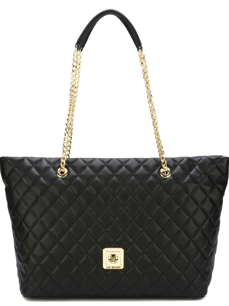love moschino quilted shopper tote in black lyst. Black Bedroom Furniture Sets. Home Design Ideas