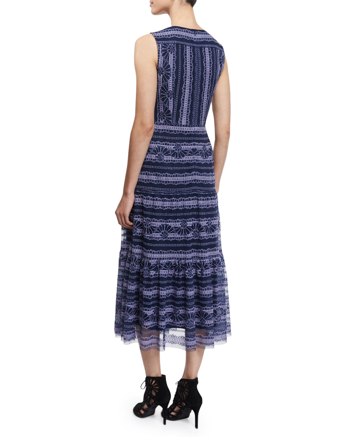 Nanette lepore sleeveless lace embroidered midi dress in