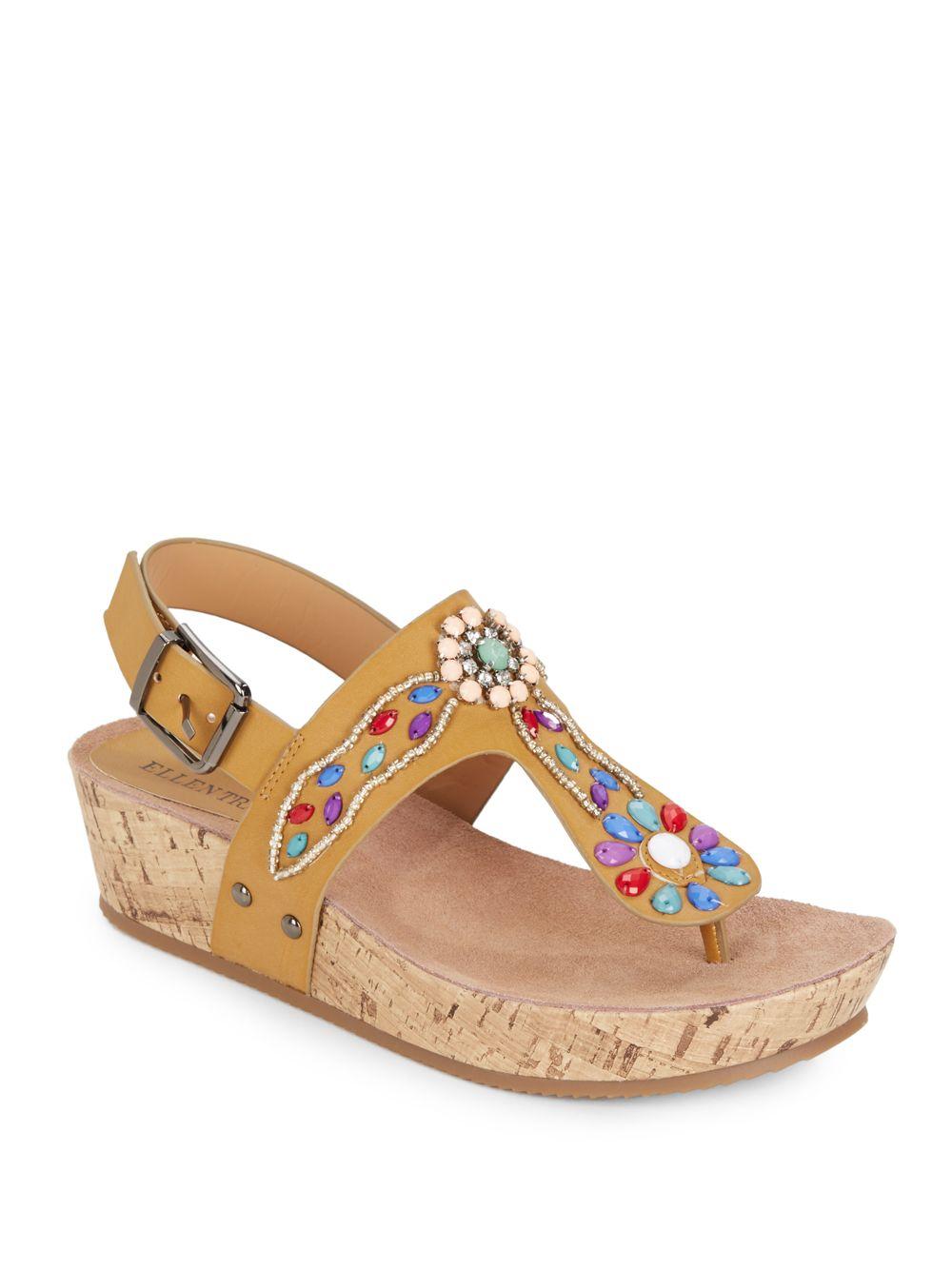 b54f4df3aa9 Lyst - Ellen Tracy Itani Embellished Leather Platform Sandals