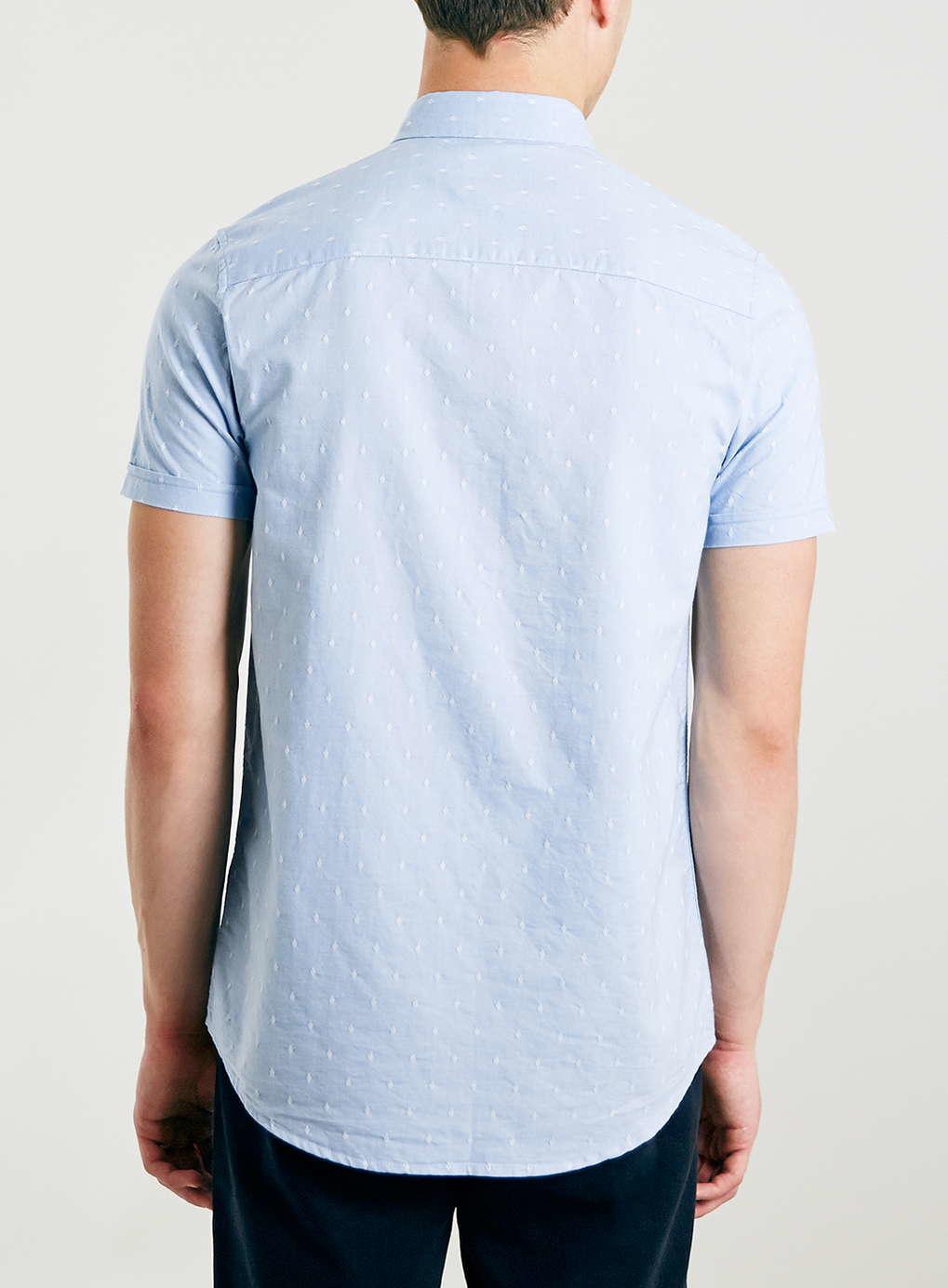 Topman light blue dobby spot short sleeve casual shirt for Light blue short sleeve shirt mens