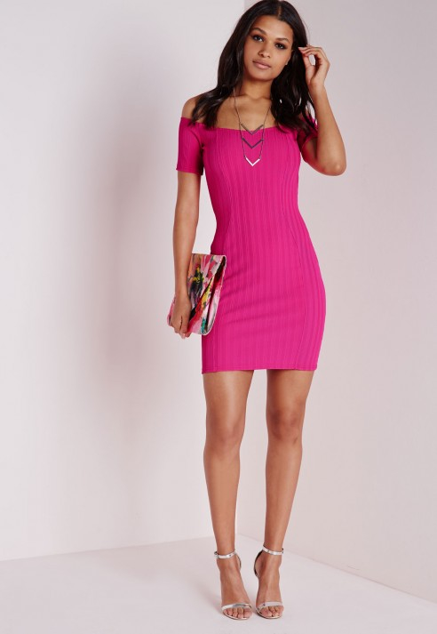 Missguided Ribbed Bardot Bodycon Dress Hot Pink In Pink Lyst