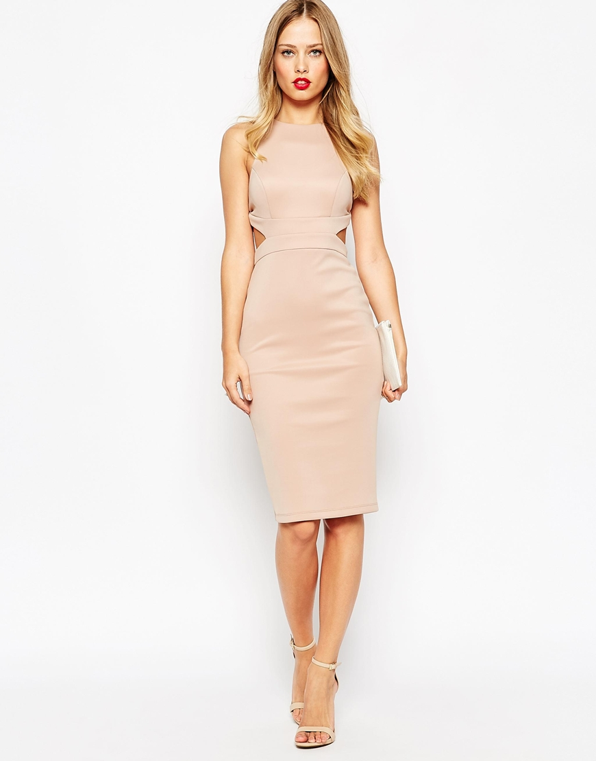 asos nude cut out back bodycon midi dress beige product 3 337193623 normal