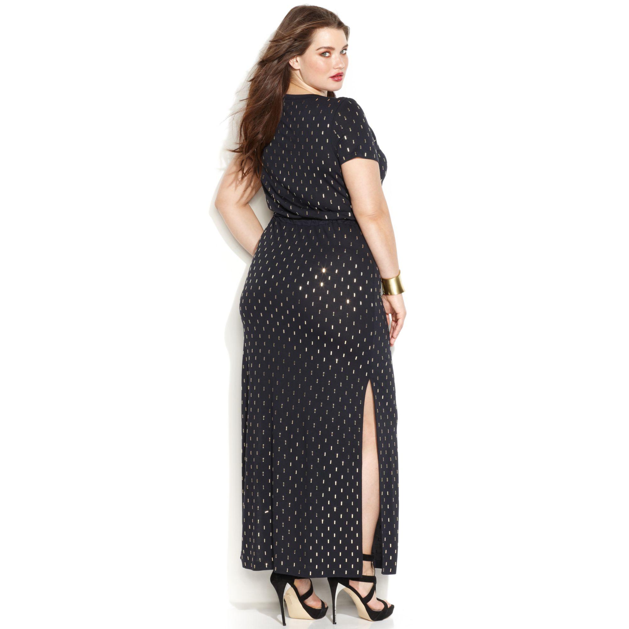 Michael Kors Michael Plus Size Shortsleeve Studded Maxi Dress in ...